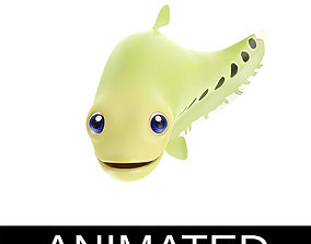 3D asset Clown Feather Back Animated Fish toon