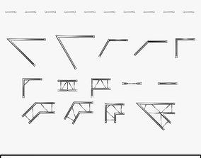 Beam Trusses Collection 24 Modular Pieces 3D