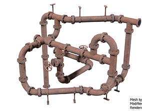 Old Rusty Pipes for Games 3D model low-poly