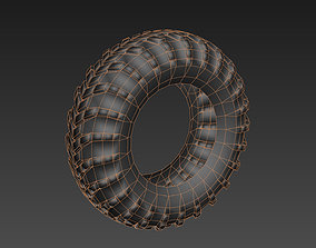Low poly tyre game asset uvw game-ready