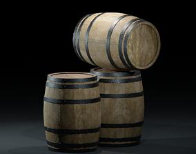 3D asset BarrelsPBR woodenV01
