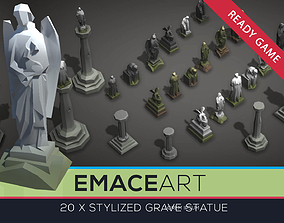 Low Poly Cemetery Statue Kit with LODs 3D model
