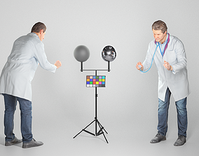 3D asset Medical doctor is using a stethoscope