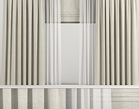 Wide beige curtains with Roman and tulle 3D model