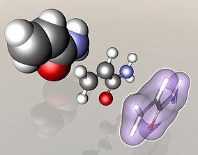 Acrylamide molecule 3D burned