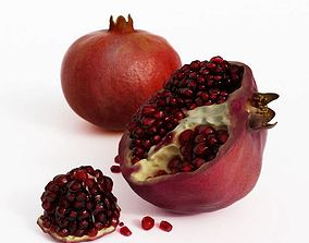 Red Pomegranate Fruit And Seeds 3D