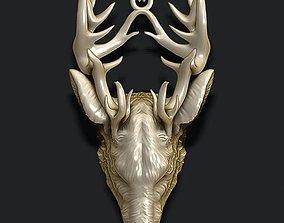 Deer pendant 3D printable model silver