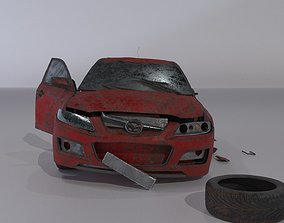 Wrecked destroyed Sedan car 3D model