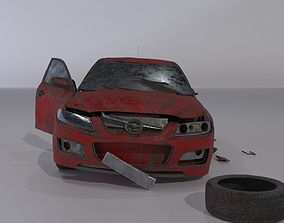 3D model Wrecked destroyed Sedan car