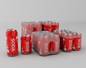 Generic soda can six pack bundle 3D