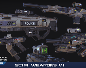 PBR SciFi Weapons v1 3D asset low-poly