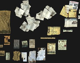 3D model Old paper and Scroll Collection