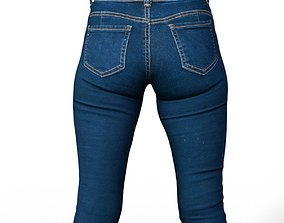 3D model Trousers Jeans Dark Blue Clothing Fashion Women