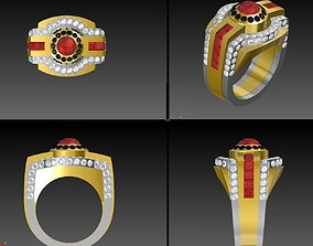 Mens Pave ring 2 tone 3D printable model