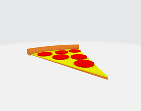 Low-Poly Cartoon Pizza Slice 3D model