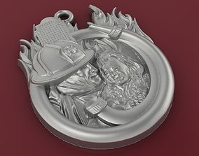 3D print model Firefighter and baby girl pendant