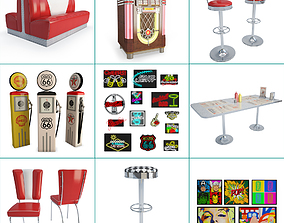 American Diner Restaurant Collection 3D model