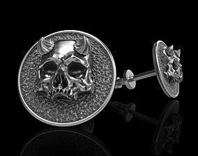 jewelry 3D print model skull earrings studs