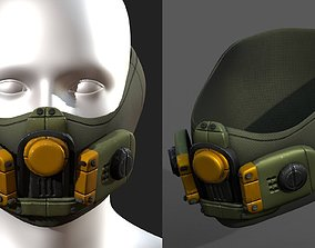 Gas mask helmet 3d safety isolated low-poly