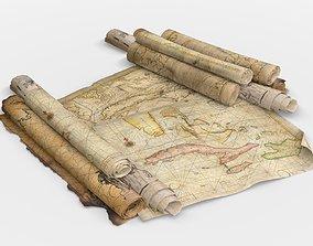 Old Caribbean Maps 3D model