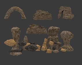 Game ready Low-poly Rock and Stones model realtime
