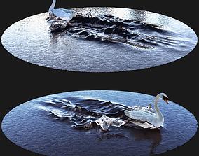3D model Swan on water