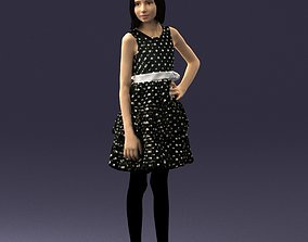 Young girl in a black dress 0173 3D Print Ready