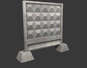 realtime Concrete fence low-poly 3d model