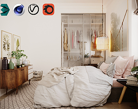 3D model Scandinavian Bed Room