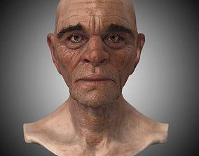 low-poly Realistic Old Man Head 3D Sculpt