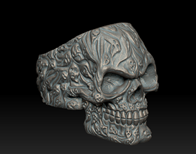 Ghosted Soul Skull ring 3d print model signet
