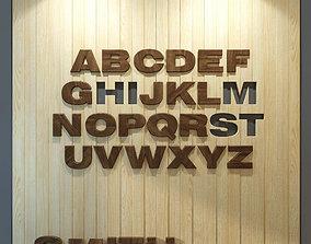 Wood panel English alphabet 3D model