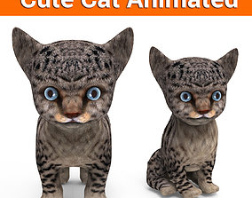 3D Cartoon Cat Animated Model animated