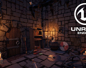 3D asset VR / AR ready UE4 - Medieval Stylized Dungeon