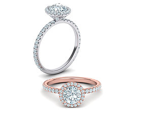 Halo Engagement ring with 1ct round stone