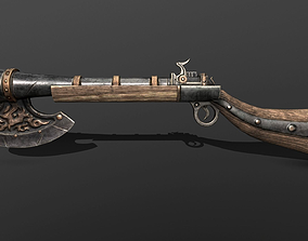 Musket with axe 3D model game-ready