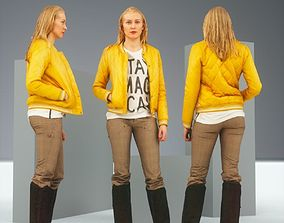 Casual Blonde Model in Yellow Jacket and Boots 3D asset