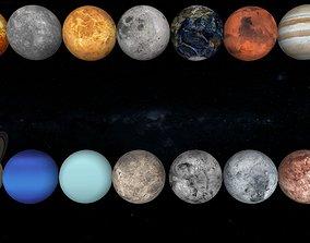 3D model low-poly solar system