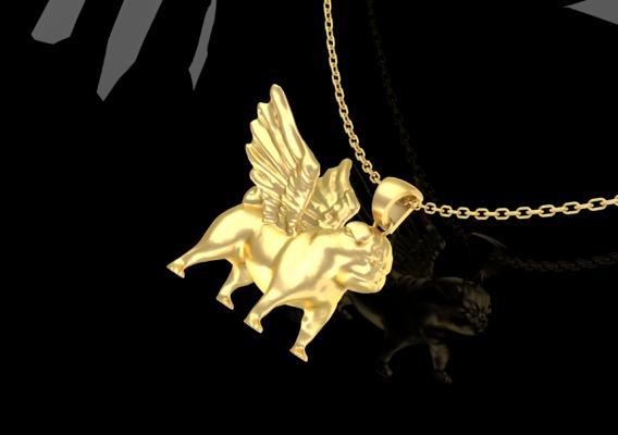 Winged Pug Pendant Jewelry Gold 3D print model