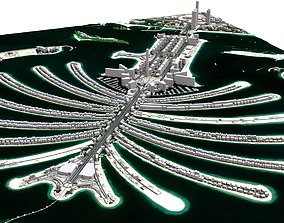 valley 3D model The Palm Jumeirah Island Dubai
