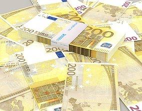 200 euro banknote packs 3D
