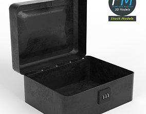 Metallic box with combination lock 3D