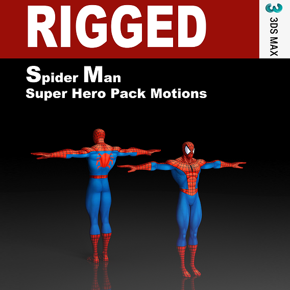 Spider-Man Super Hero Pack Motions Rigged Low-poly 3D model