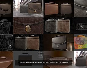 3D Leather briefcase with two texture variations