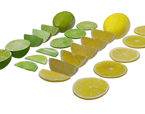 Lime and Lemon PBR Low poly 3D model