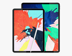 iPad Pro 2018 Collection 11 and 129 Inches and 3D model