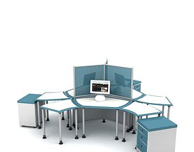 Modern Blue White Cubicle 3D