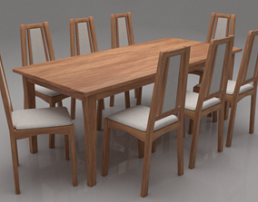 3D asset Kuzel Solid Wood Eight Seater Cushioned Dining