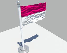 3D model Monaco flag