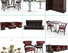 English Pub Furniture and Lighting Collection 3D